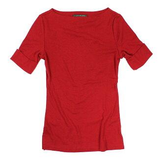 美國百分百【全新真品】Ralph Lauren T恤 RL 五分袖 短袖 上衣 T-shirt 紅色 寬領 女 XS S