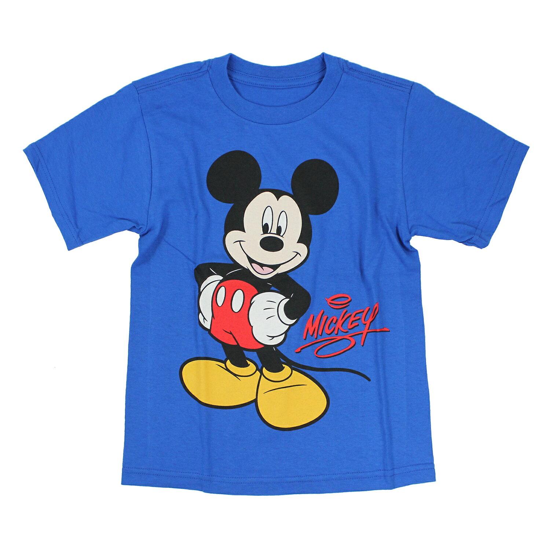 美國百分百【Disney】迪士尼 T恤 T-shit 短袖 米老鼠 米奇 卡通 圖案 童裝 XS S M 藍色 4~8歲