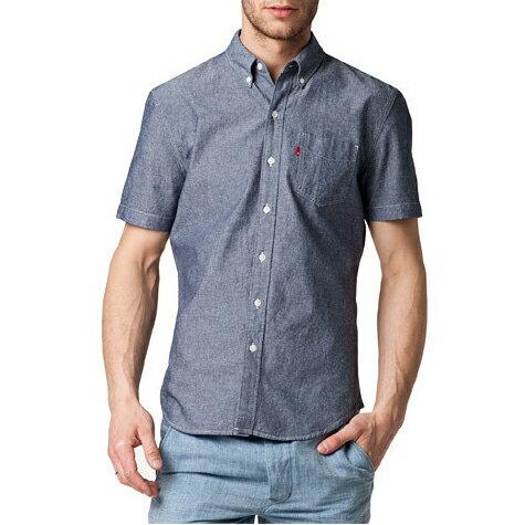 美國百分百【全新真品】Levis 襯衫 短袖 上衣 休閒 藍灰色 薄 春夏 口袋 單寧 牛仔 男 S號 E633