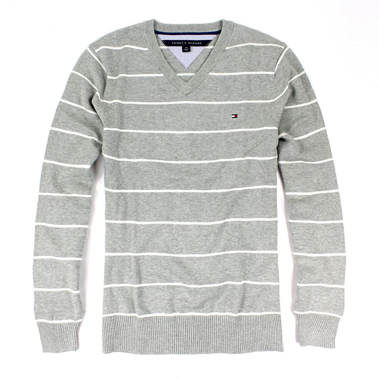 美國百分百【全新真品 】Tommy Hilfiger 針織衫 TH 線衫 上衣 灰 條紋 V領 毛衣 S L號 B610