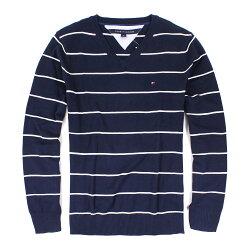 美國百分百【全新真品 】Tommy Hilfiger 針織衫 TH 線衫 上衣 深藍 條紋 V領 毛衣 M號 B610