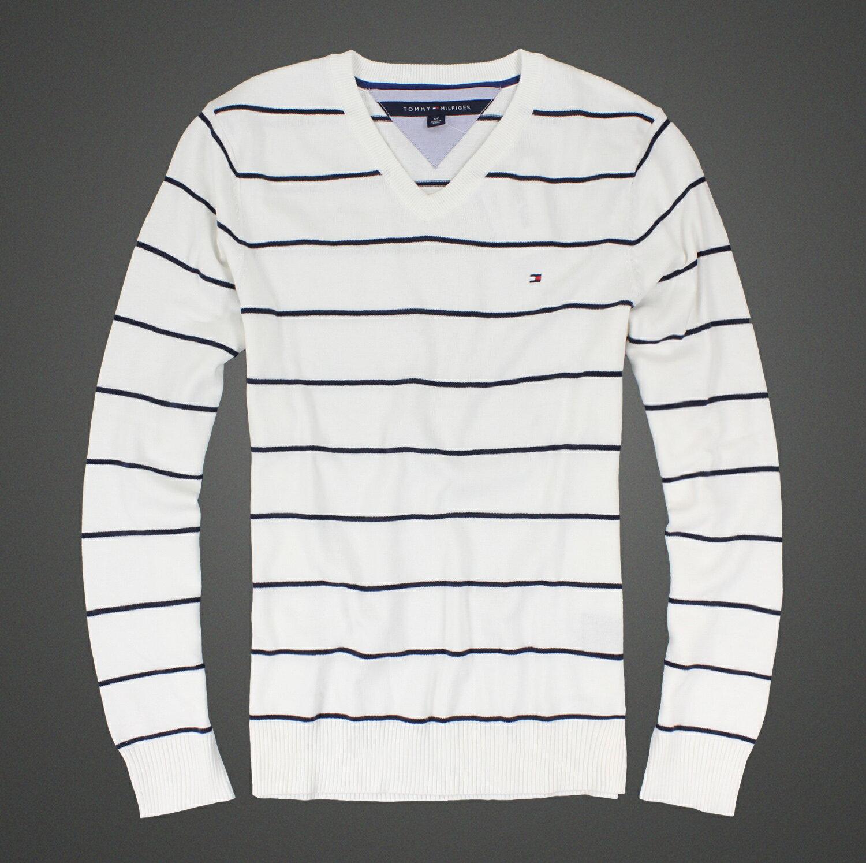 美國百分百【全新真品 】Tommy Hilfiger 針織衫 TH 線衫 上衣 白色 條紋 V領 毛衣 S號 B610
