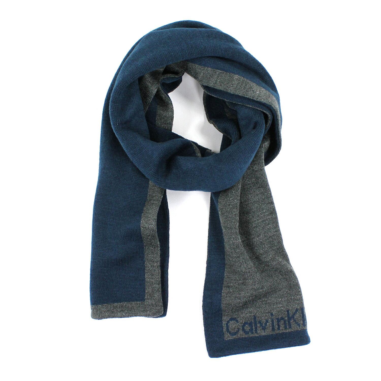 美國百分百【全新真品 】Calvin Klein 圍巾 CK 披肩 配件 披巾 青藍 鐵灰 logo 針織 男 B766