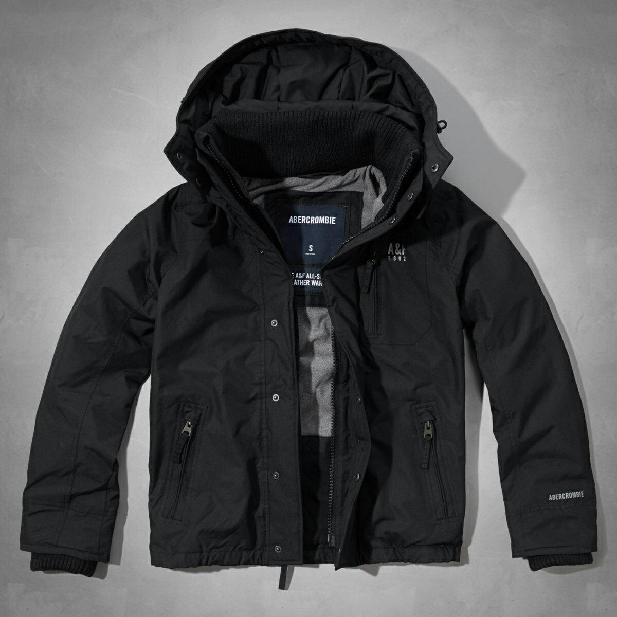 美國百分百【Abercrombie & Fitch】外套 AF 連帽 夾克 麋鹿 黑色 風衣 男 S XL C343