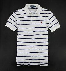 美國百分百【Ralph Lauren】Polo衫 上衣 RL 短袖 小馬 網眼 白色 條紋 藍 男 XS S號 E488