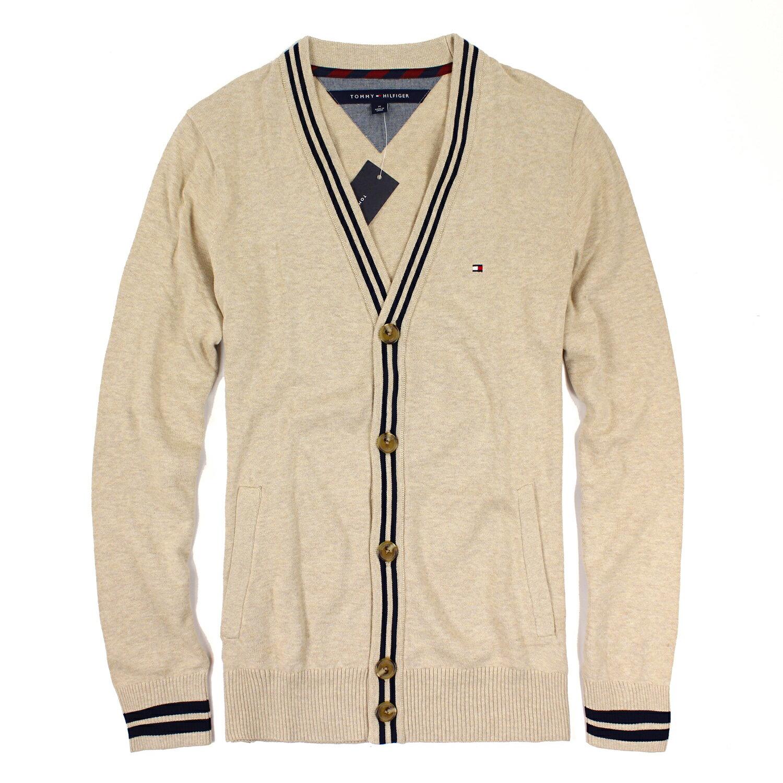 美國百分百【全新真品 】Tommy Hilfiger 針織衫 TH 線衫 開襟 毛衣 外套 條紋 卡其 M號 E513