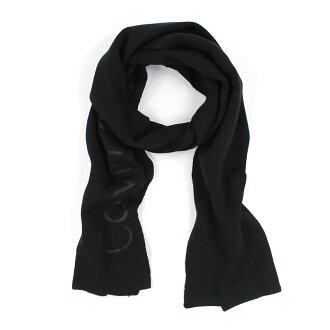 美國百分百【全新真品 】Calvin Klein 圍巾 CK 披肩 配件 披巾 黑色 素面 logo 針織 男 E648