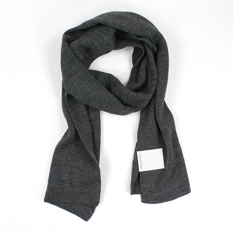 美國百分百【全新真品 】Calvin Klein 圍巾 CK 披肩 配件 披巾 灰色 素面 logo 針織 男 E648