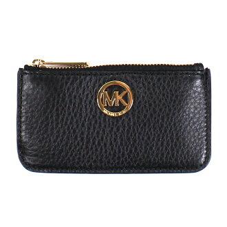 美國百分百【全新真品】MICHAEL KORS 女包 皮包 皮質 小包 MK 扁包 精品 皮夾 零錢包 黑色 E650