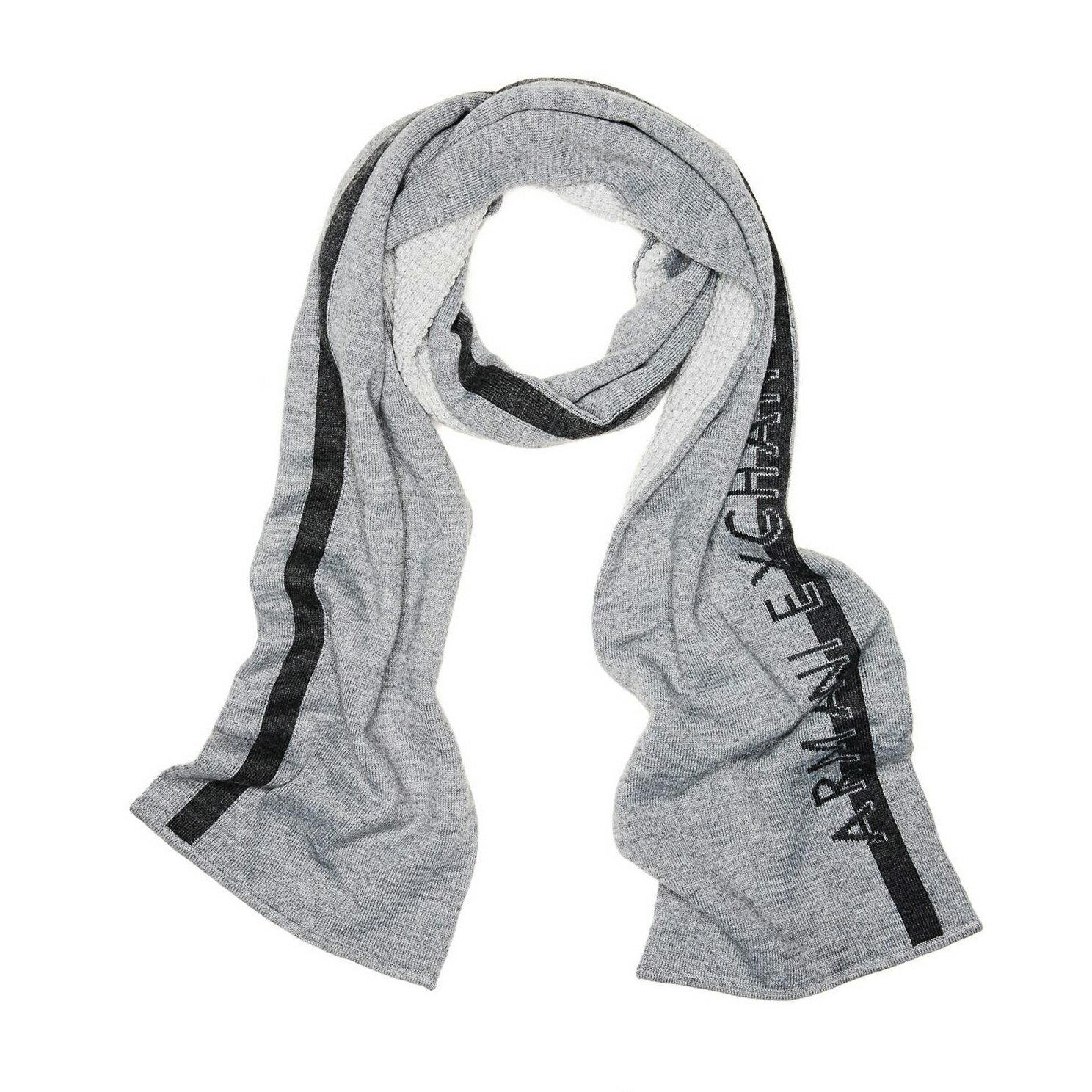 美國百分百【全新真品】Armani Exchange 圍巾 AX 披肩 披巾 灰色 配件 logo 針織 羊毛 E658