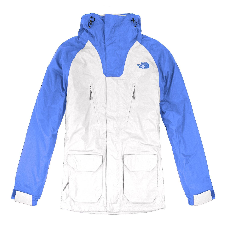 美國百分百【The North Face】外套 TNF 連帽 夾克 Hyvent 防水 兩件式 防寒 藍白 S E662