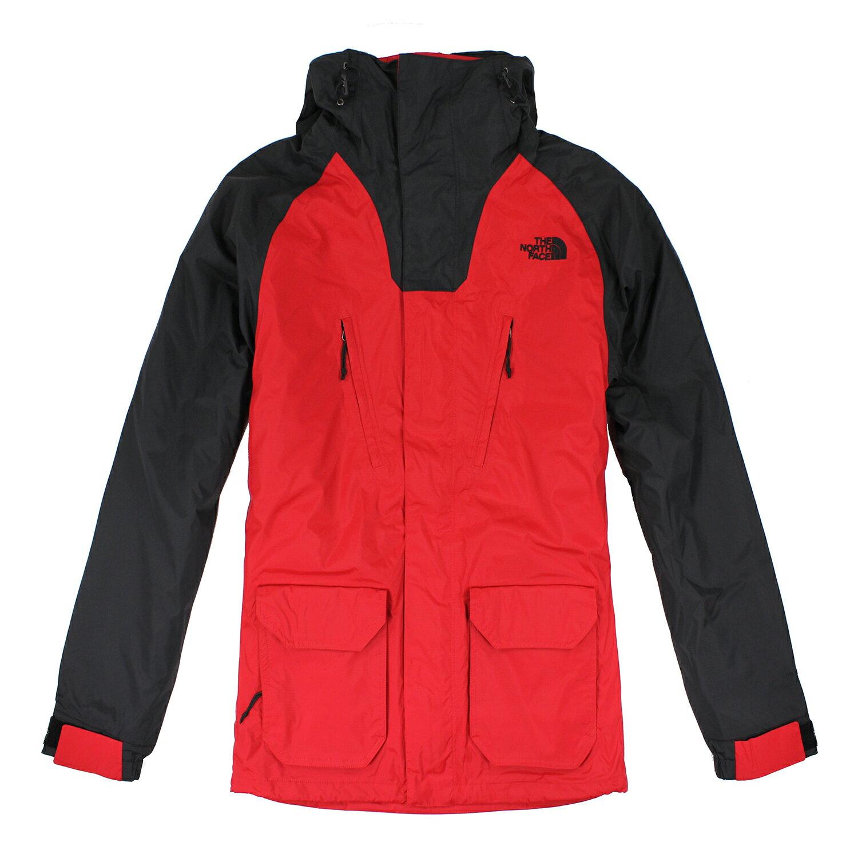 美國百分百【The North Face】外套 TNF 連帽 夾克 Hyvent 防水 兩件式 透氣 紅黑 S E662