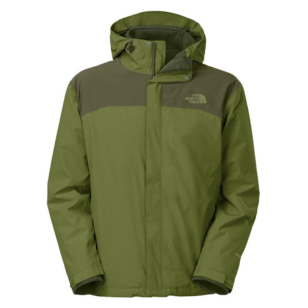 美國百分百【The North Face】外套 TNF 連帽 夾克 Hyvent 防水 兩件式 防寒 綠色 M E663