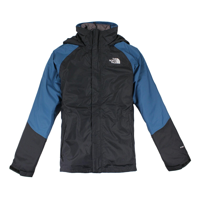 美國百分百【The North Face】外套 TNF 連帽 夾克 Hyvent 防水 兩件式 防寒 黑藍 S E665