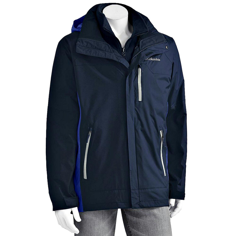 美國百分百【全新真品】Columbia 外套 夾克 連帽 哥倫比亞 登山 深藍色 兩件式 防水 男 M號 E673