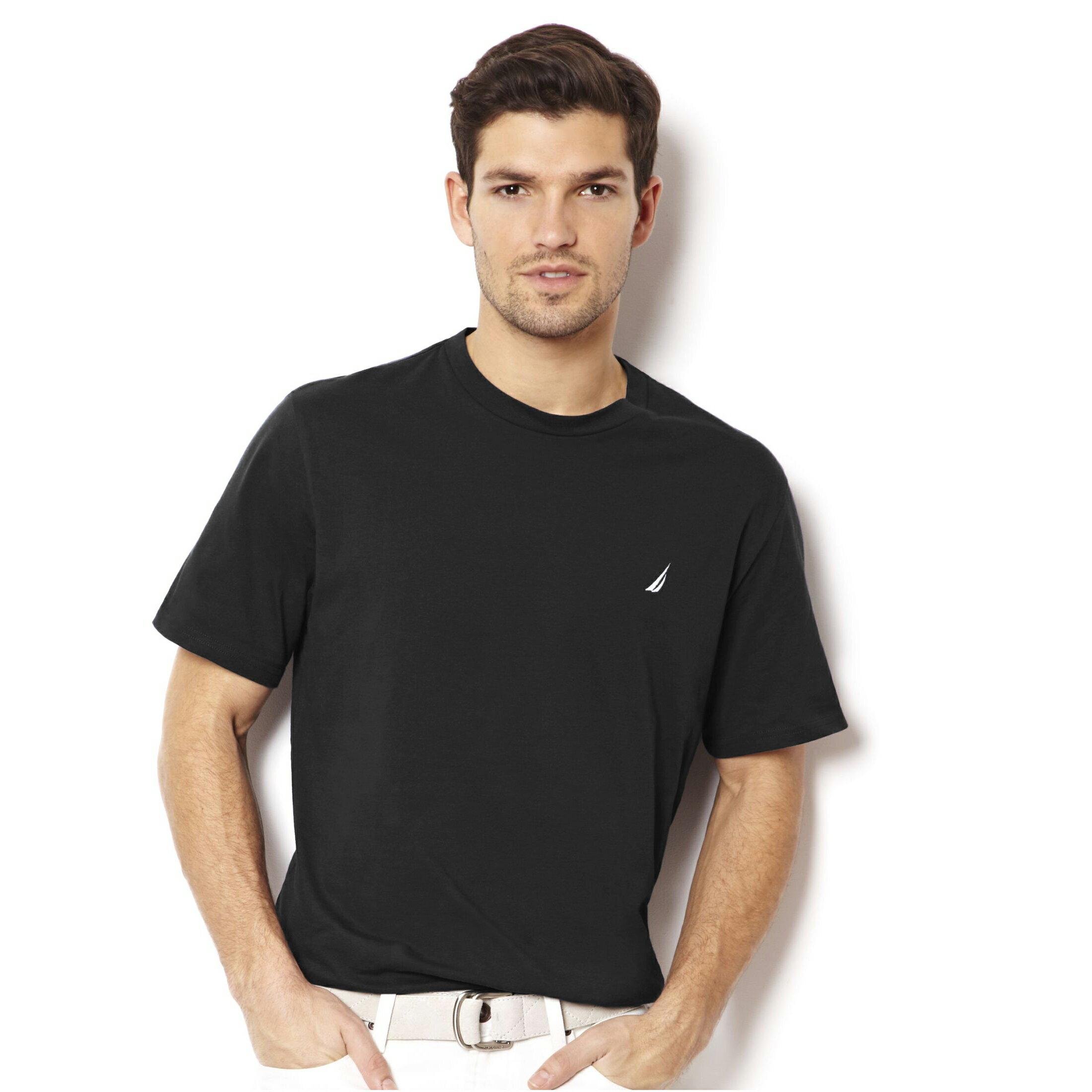美國百分百【全新真品】Nautica T恤 帆船 T-SHIRT 上衣 短袖 素面 男 黑色 XS S M號 E680