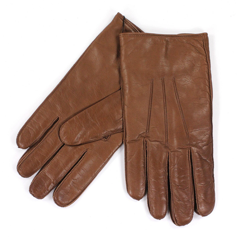 美國百分百【全新真品】COACH 手套 皮手套 80680 駝色 配件 真皮 保暖 喀什米爾 羊毛 男 S號 E682