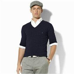 美國百分百【全新真品】Ralph Lauren RL V領 羊毛 polo 針織 薄款 線衫 深藍 XS號 E685