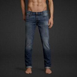 美國百分百【Abercrombie & Fitch】牛仔褲 AF 窄管 長褲 藍 刷色 洗舊 刷白 男 31腰 E691
