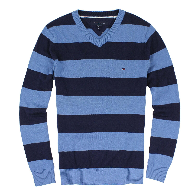 美國百分百【全新真品】Tommy Hilfiger 針織衫 V領 線衫 毛衣 TH 男 條紋 天藍 深藍 S號 B613