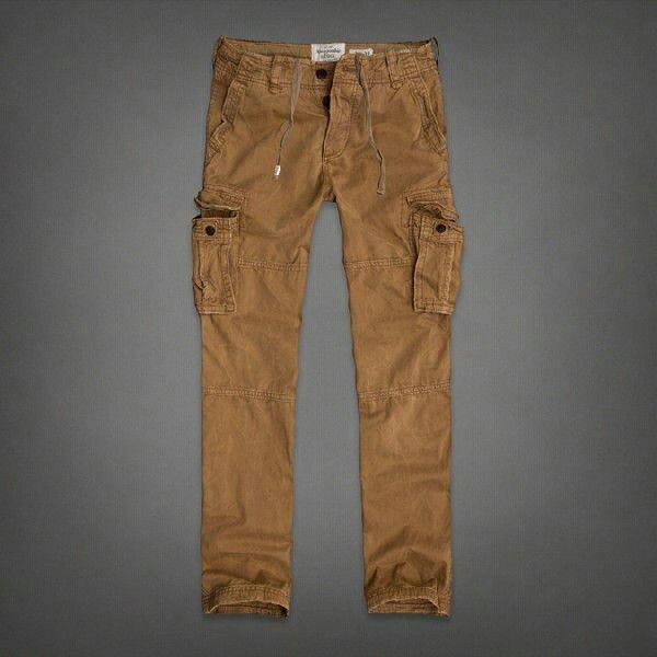 美國百分百【Abercrombie & Fitch】工作褲 AF 休閒褲 長褲 牛仔褲 洗舊 駝色 男 30腰 E705