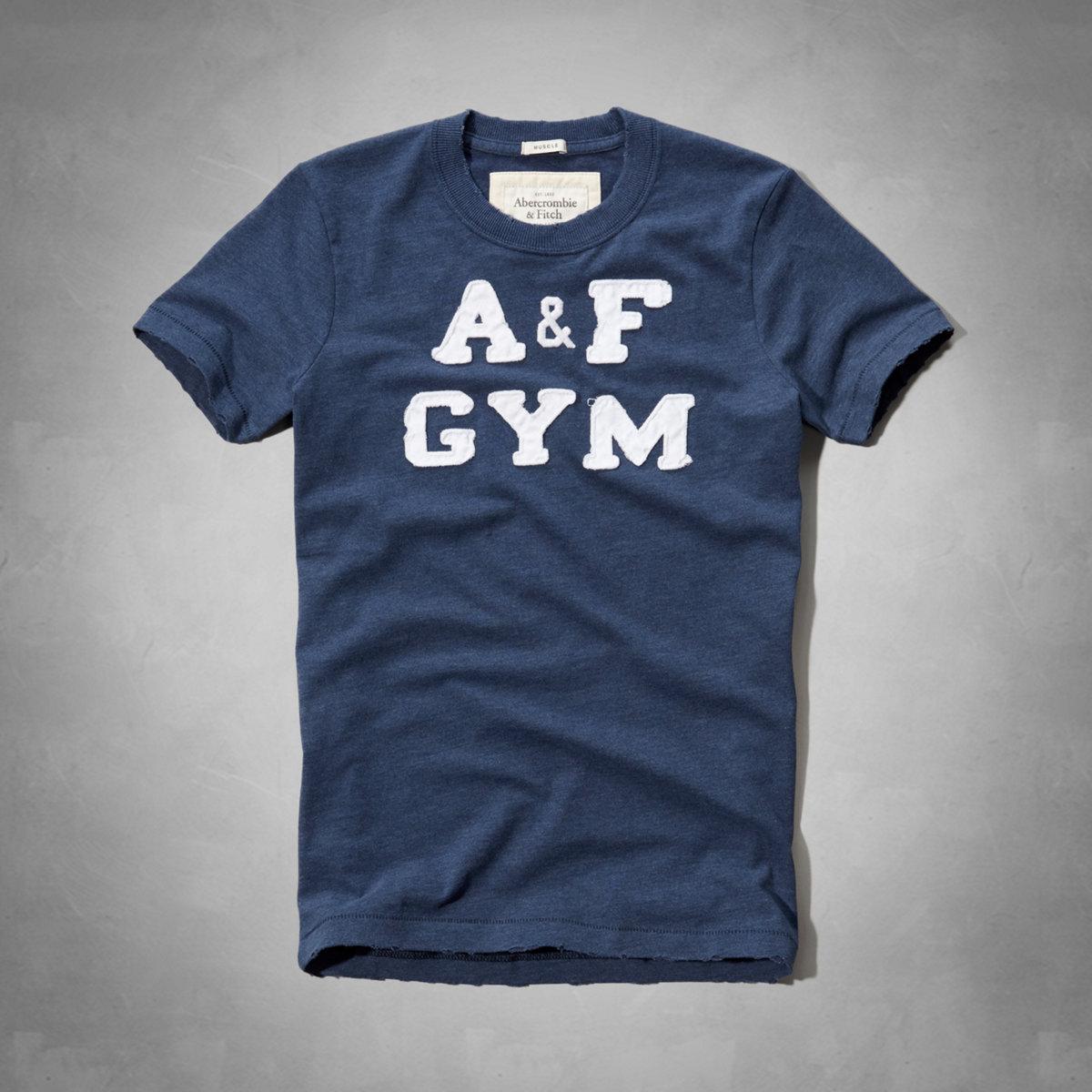 美國百分百【Abercrombie & Fitch】T恤 AF 短袖 上衣 T-shirt 麋鹿 S號 藏藍 E714
