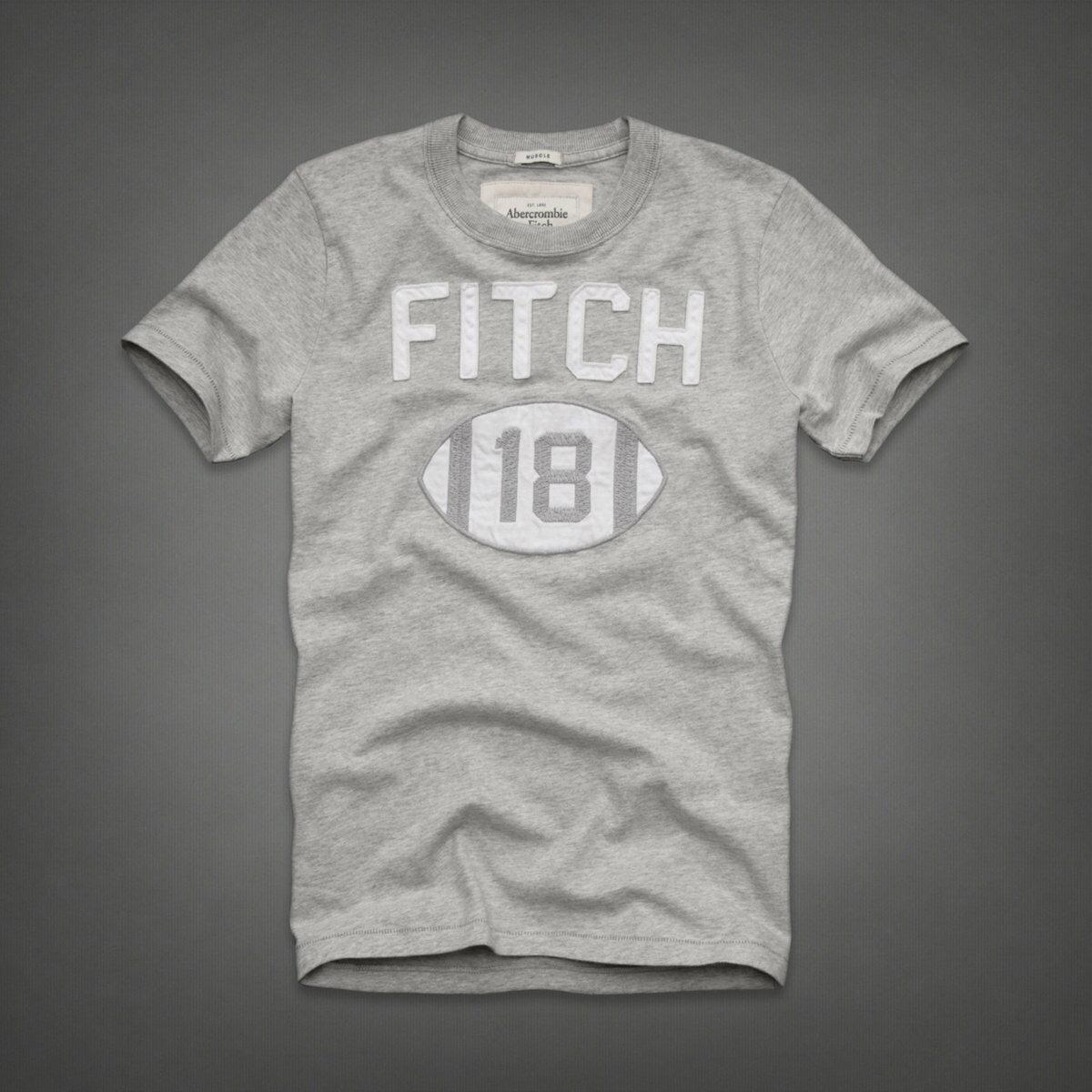 美國百分百【Abercrombie & Fitch】T恤 AF 短袖 T-shirt 麋鹿 S號 淺灰 橄欖球 E742