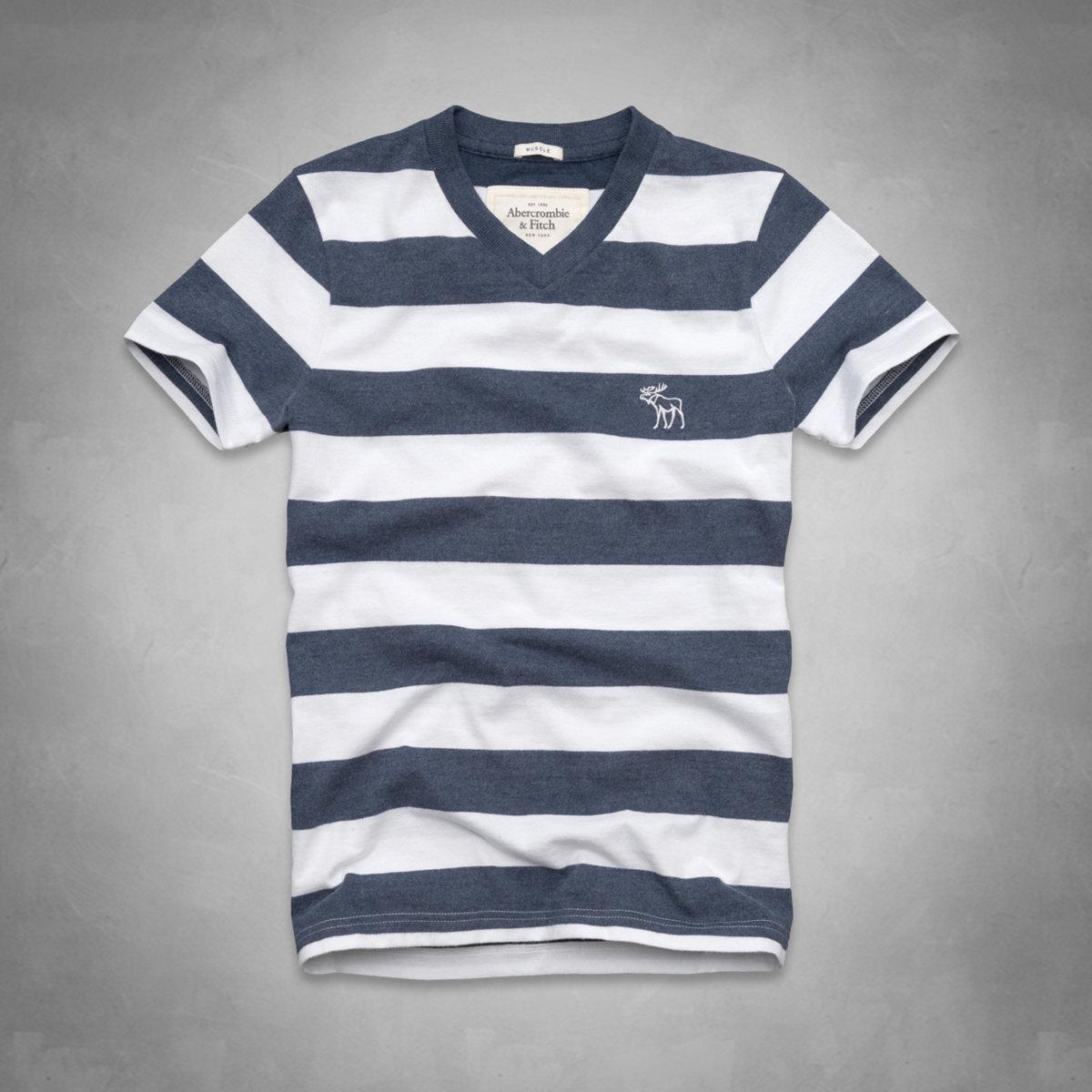 美國百分百【Abercrombie & Fitch】T恤 AF 短袖 T-shirt 麋鹿 條紋 V領 藍 白 E747