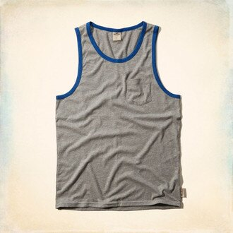 美國百分百【Hollister Co.】背心 T恤 HCO 無袖 T-shirt 海鷗 灰色 素面 滾邊 E759