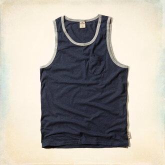 美國百分百【Hollister Co.】背心 T恤 HCO 無袖 T-shirt 海鷗 藏藍 素面 XL 滾邊 E759