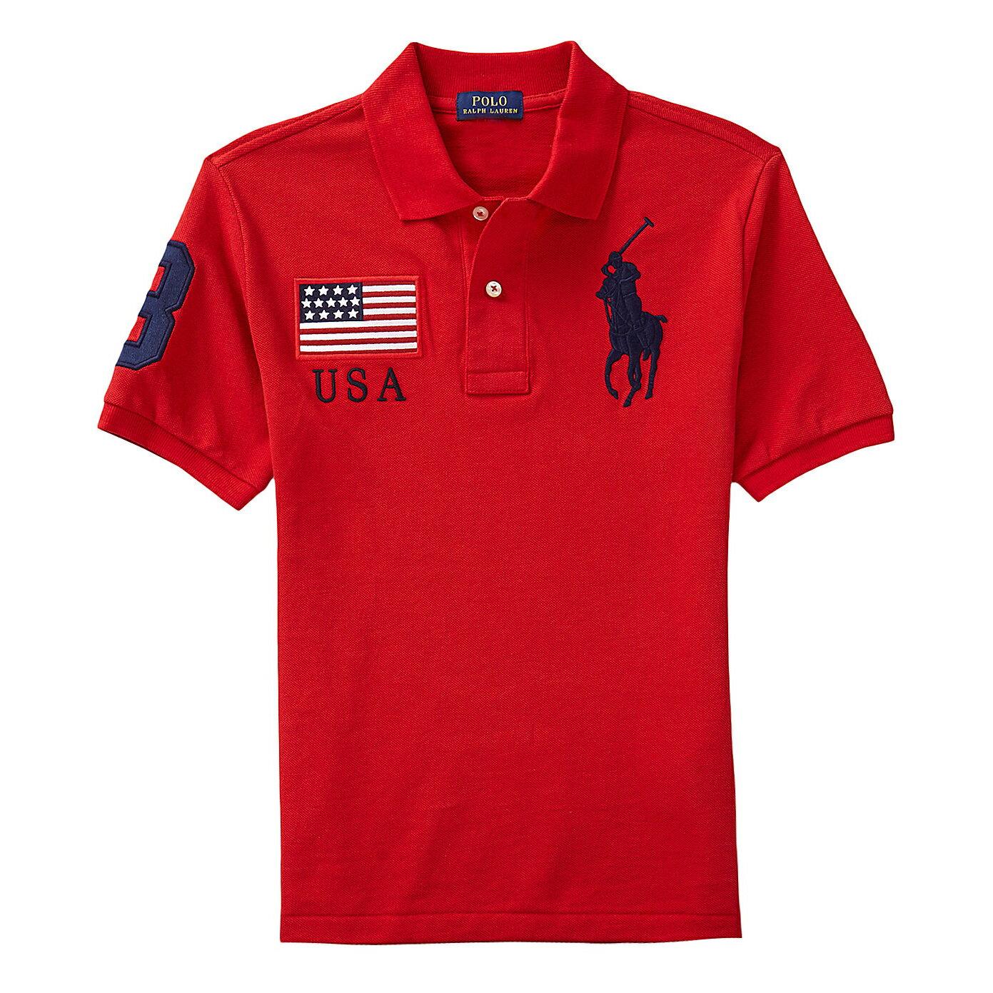 美國百分百【全新真品】Ralph Lauren Polo衫 RL 短袖 Polo 大馬 紅色 國旗 S號 男 E769