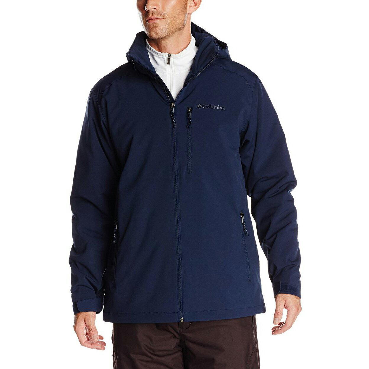 美國百分百【全新真品】Columbia 外套 夾克 連帽 哥倫比亞 登山 深藍 鋪棉 防潑水 男 S M號 E789