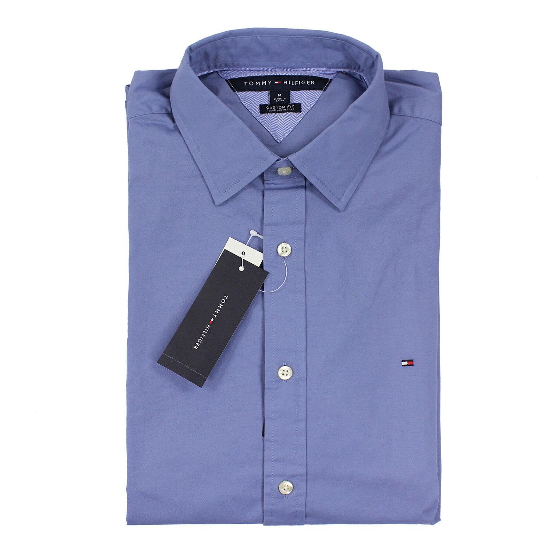 美國百分百【全新真品】Tommy Hilfiger 襯衫 TH 藍灰色 上衣 男衣 長袖 襯衫 合身 S號 B886