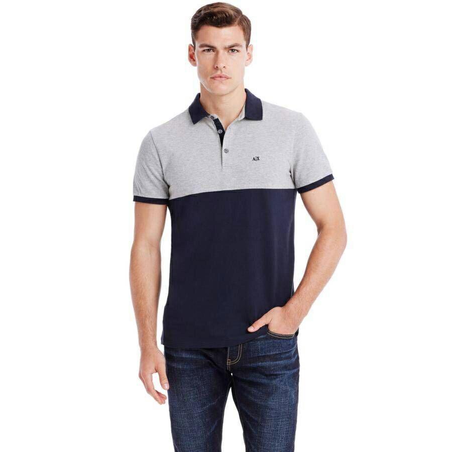 美國百分百【Armani Exchange】polo衫 AX 短袖 上衣 拼色 網眼 灰 深藍 S M號 E770