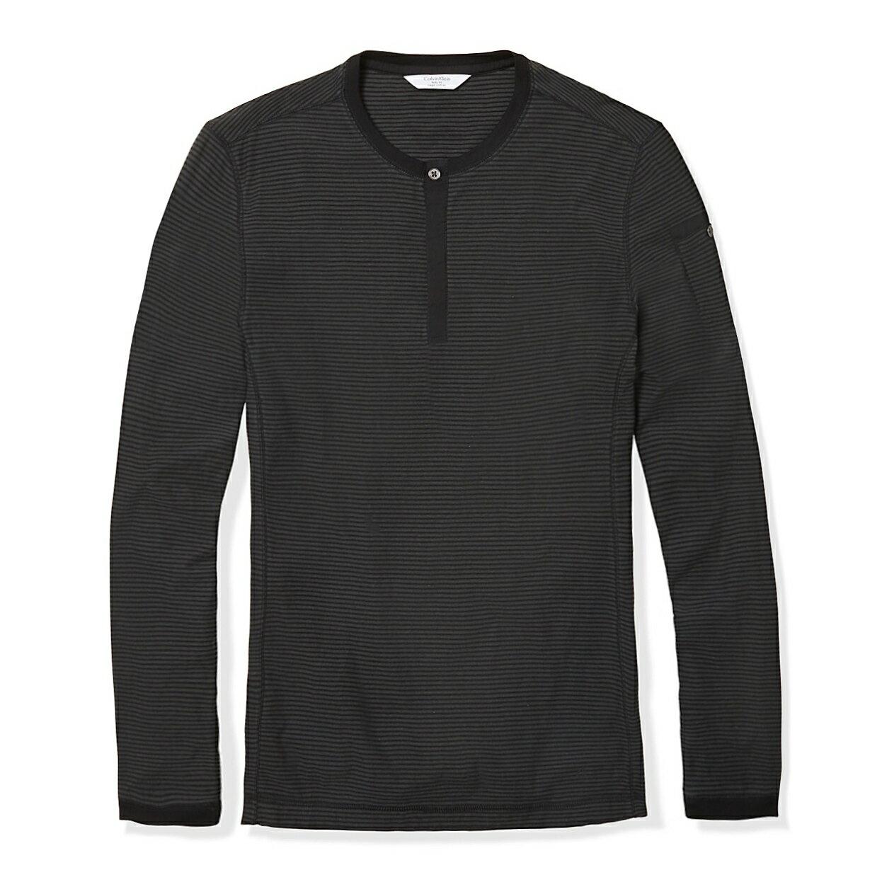 美國百分百【全新真品】Calvin Klein 上衣 CK 長袖 T恤 T-shirt 深灰 條紋 亨利領 男 E773