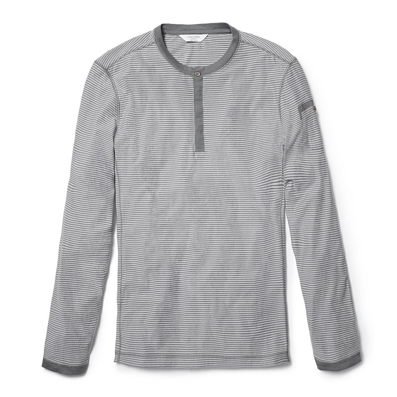 美國百分百【全新真品】Calvin Klein 上衣 CK 長袖 T恤 T-shirt 淺灰 條紋 亨利領 男 E773