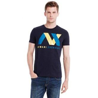 美國百分百【全新真品】Armani Exchange T恤 AX 短袖 上衣 T-shirt 深藍 XXL號 E777