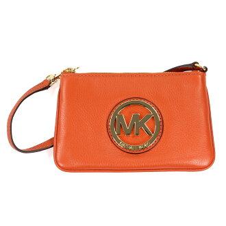 美國百分百【全新真品】MICHAEL KORS 手拿包 MK 手提包 錢包 手機包 皮包 橘色 真皮 女包 A694