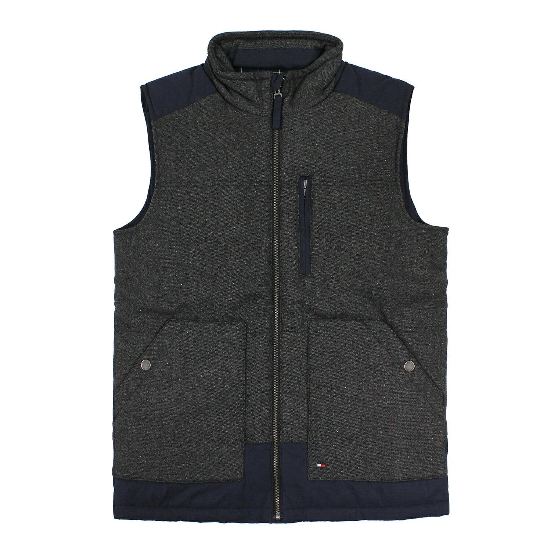 美國百分百【全新真品】Tommy Hilfiger 背心 上衣 深藍 灰 口袋 無袖 羊毛 保暖 男 S號 E799