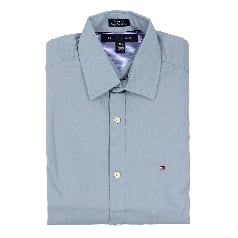 美國百分百【全新真品】Tommy Hilfiger 襯衫 TH 淺藍 素面 上衣 男 長袖 合身 XXS XS B886