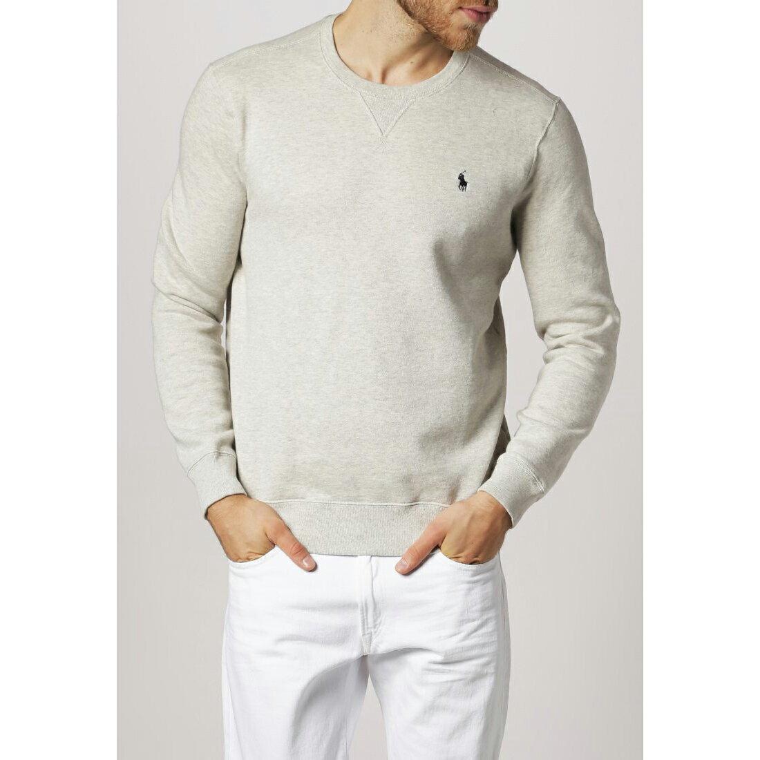 美國百分百【Ralph Lauren】T恤 RL 長袖 小馬 針織 灰 polo 大學T 上衣 M L 男 C524