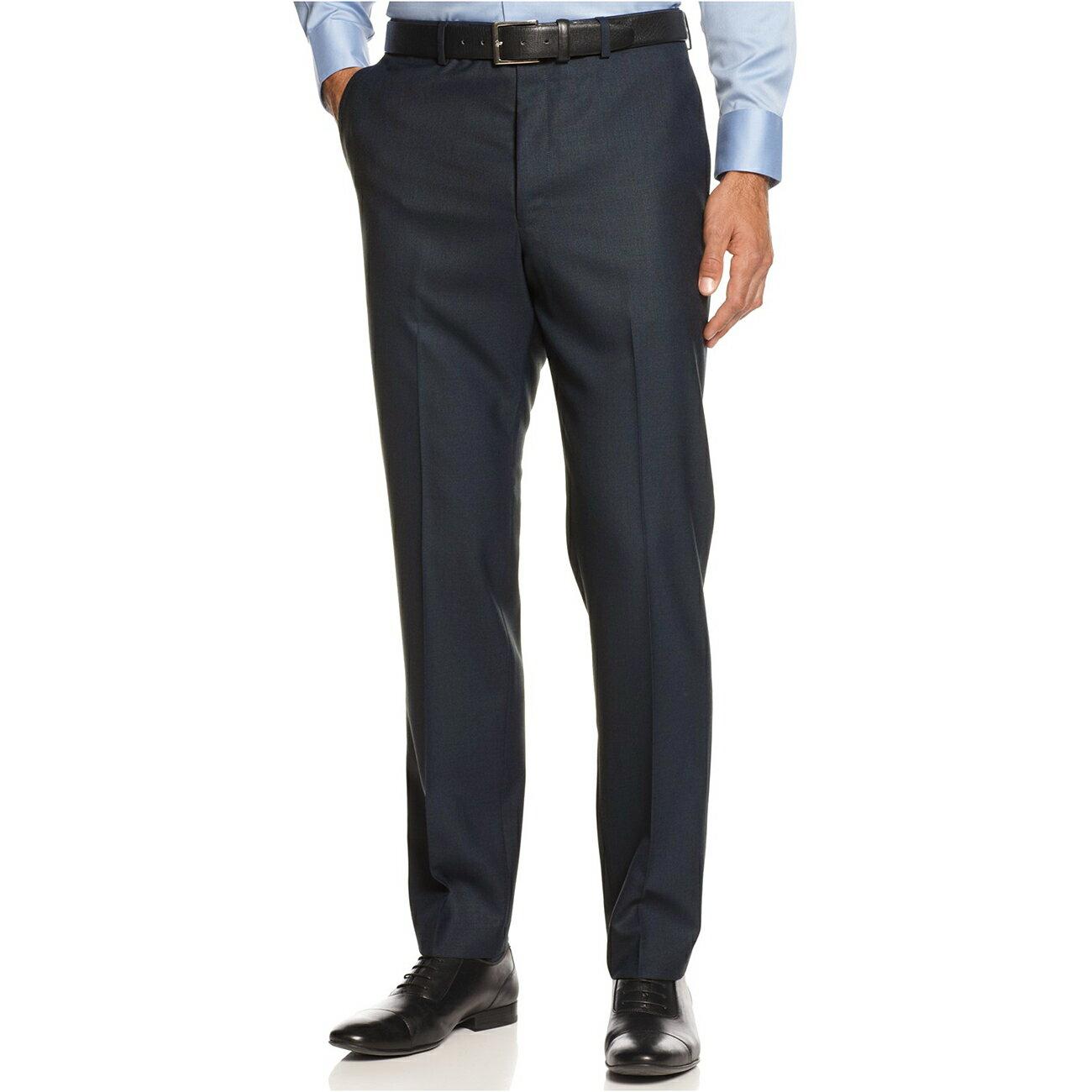 美國百分百【Calvin Klein】長褲 CK 西裝褲 直筒褲 休閒褲 上班 合身 窄版 格紋 深藍 31腰 E805