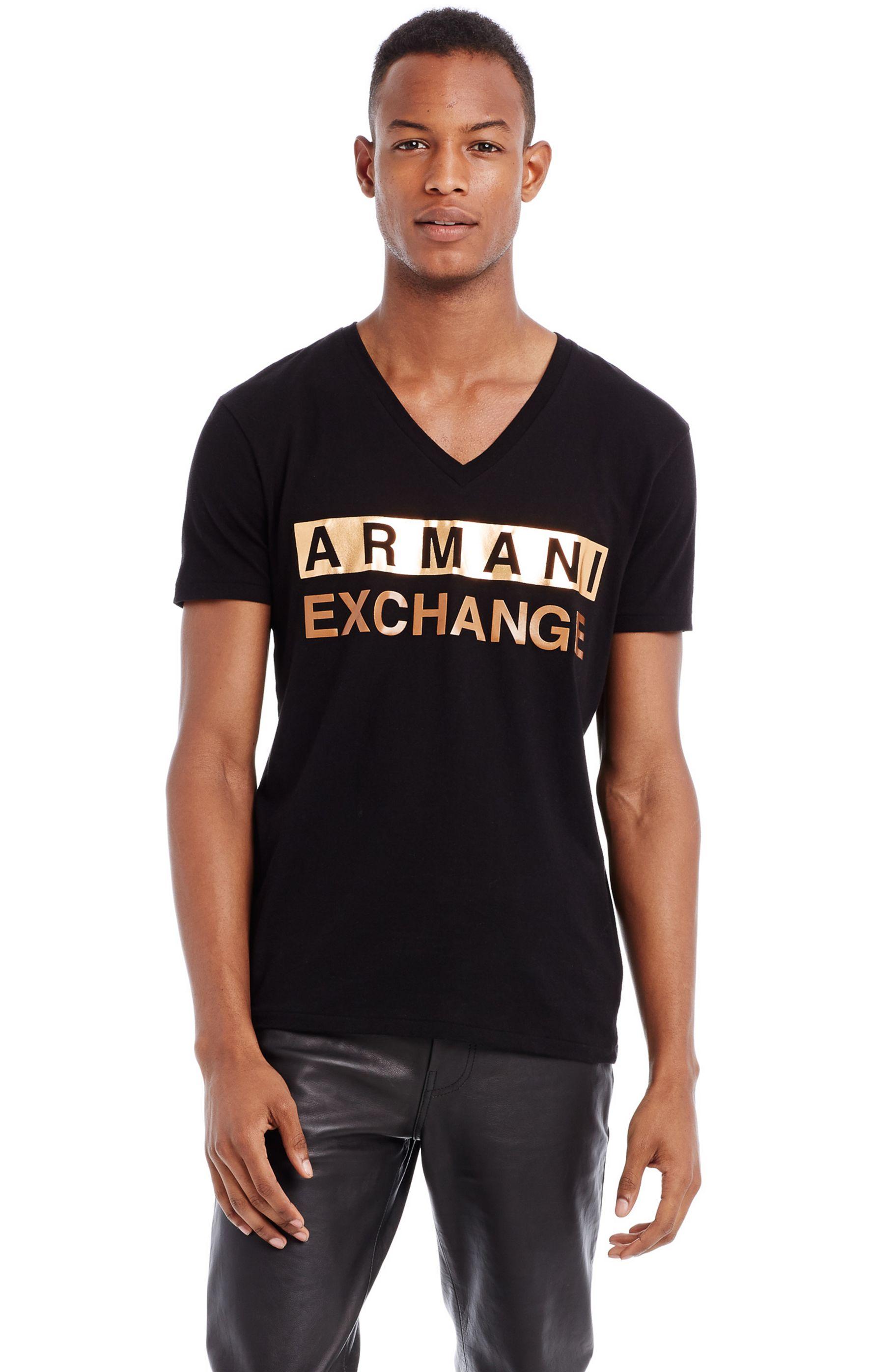 美國百分百【Armani Exchange】T恤 AX 短袖 V領 logo 燙金 T-shirt 黑 XS E808