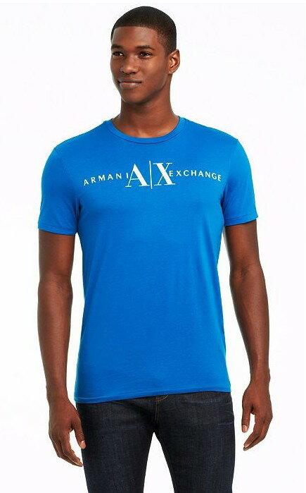 美國百分百【Armani Exchange】T恤 AX 短袖 logo 文字 上衣 T-shirt 藍色 M號 E814