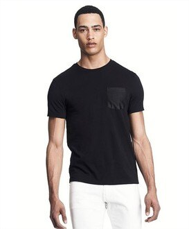 美國百分百【Armani Exchange】T恤 AX 短袖 上衣 logo 口袋 T-shirt 黑 XXL E820