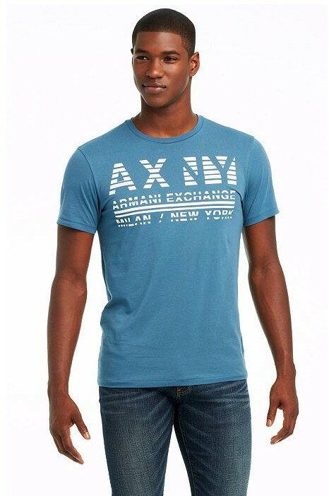 美國百分百【Armani Exchange】T恤 AX 短袖 上衣 logo 文字 T-shirt 藍灰 S號 E821