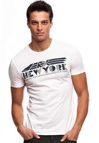 美國百分百【Armani Exchange】T恤 AX 短袖 上衣 logo 文字 T-shirt 白色 S號 E828