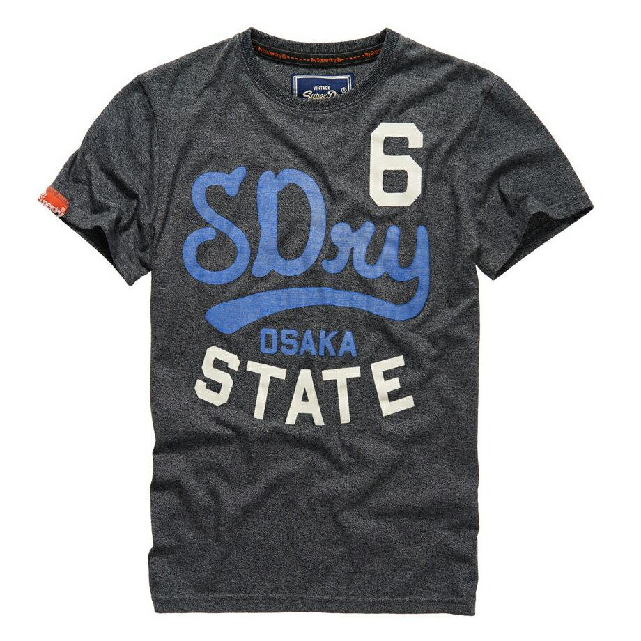 美國百分百【Superdry】極度乾燥 T恤 上衣 T-shirt 短袖 短T 雪花 圓領 深灰 復古 大尺碼 E830
