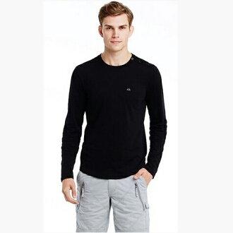 美國百分百【Armani Exchange】T恤 AX 長袖 logo 紐扣 上衣 T-shirt 黑色 M號 E834
