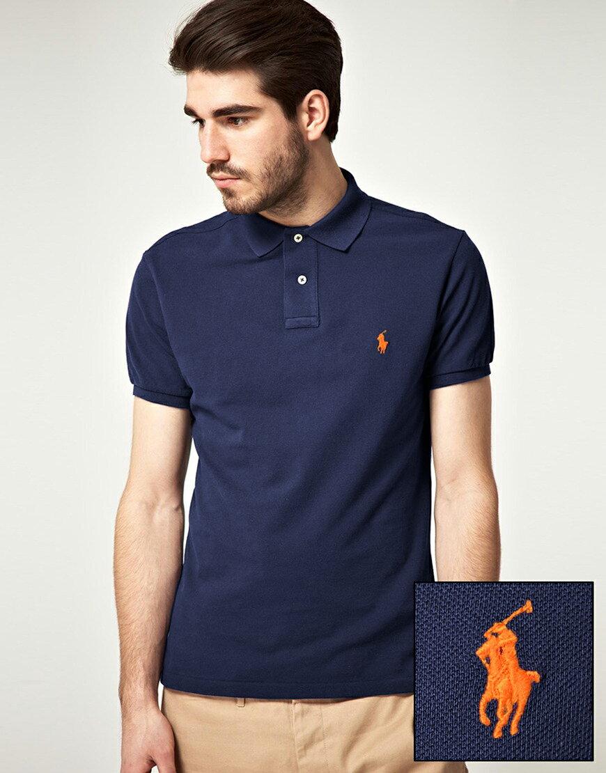 美國百分百【Ralph Lauren】Polo衫 RL 短袖 上衣 小馬 深藍 素面 男 XL XXL B001